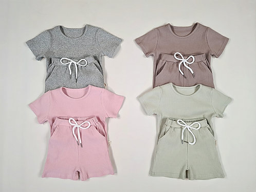 Personalised Embroidered ribbed summer set
