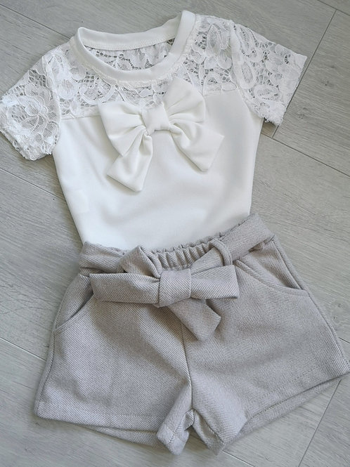Lace Bow Top & Shorts