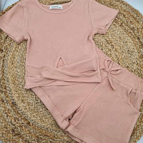 Dusky pink ribbed summer set