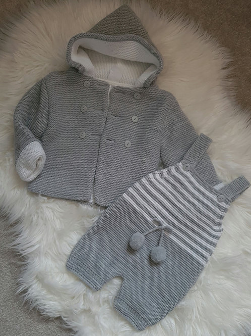 Grey knitted coat & dungarees