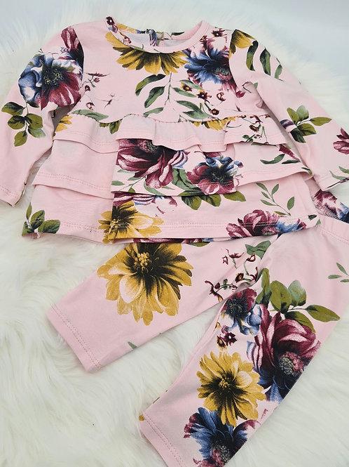 Pink floral ruffle top & leggings