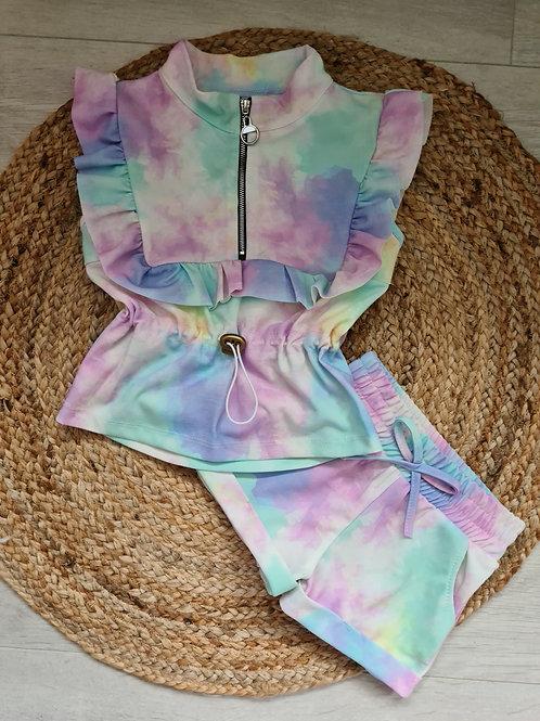 Pastel tie dye summer ruffle set