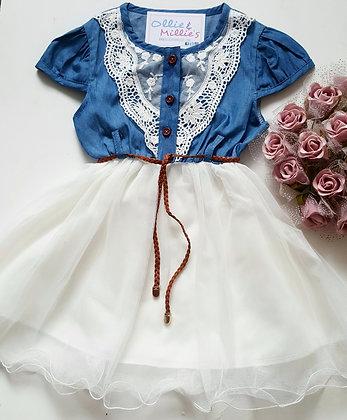 Denim White OR Pink Lace Tutu Dress & Belt