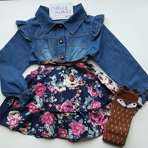 Denim Flower Print Dress