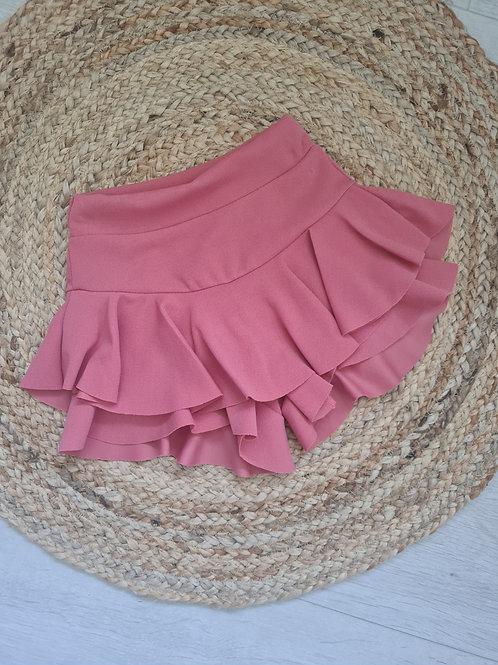 Dusky pink ruffle shorts