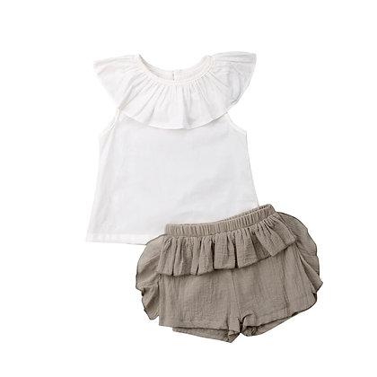 White Top & Khaki Shorts