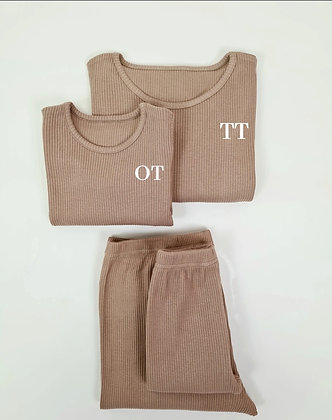 Adult biscuit personalised luxury ribbed lounge wear