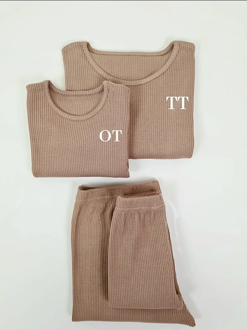 Adult biscuit embroidered personalised luxury ribbed lounge wear
