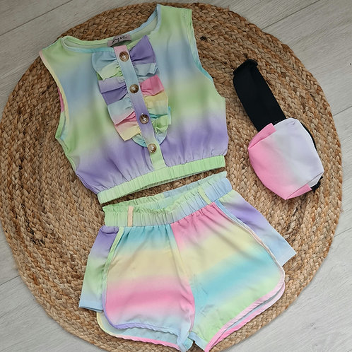 Green tie dye crop & shorts