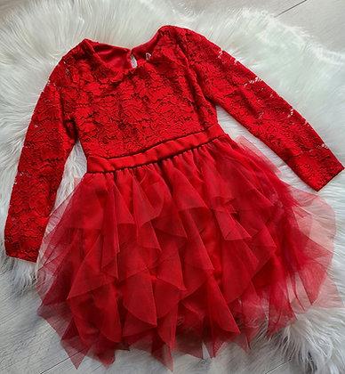 Red Lace Ruffle Dress