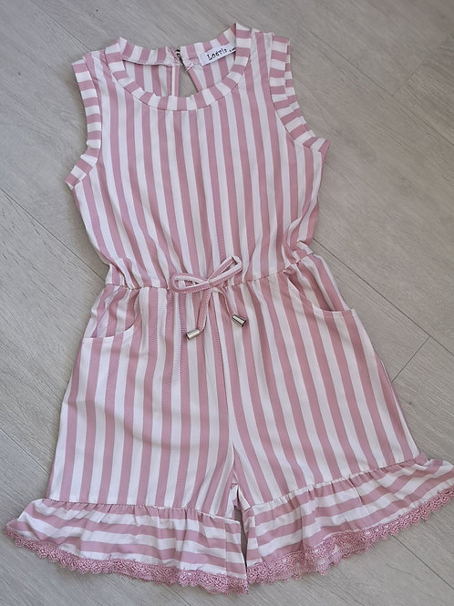 Pink Striped Summer Playsuit