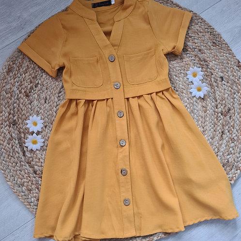 Mustard shirt style pocket dress