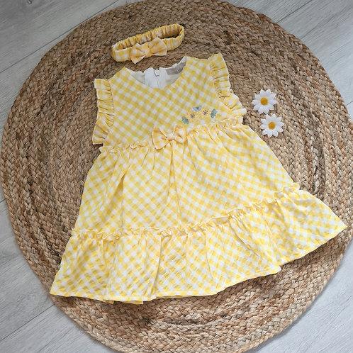Yellow gingham summer dress & headband