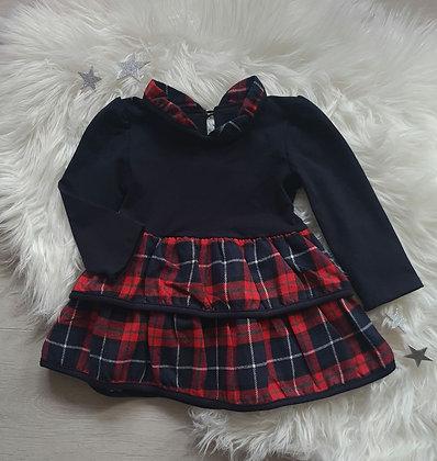 Navy Tartan Ruffle Dress