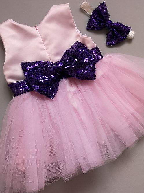 Pink & Purple Sequin Party Dress