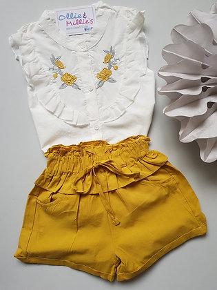 White Embroidered Shirt & Shorts Set *2 Colours*