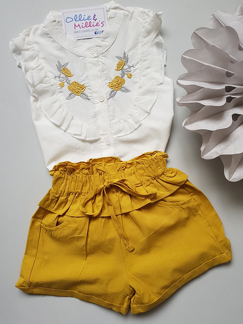 White Embroidered Shirt & Shorts Set *2 Colours*