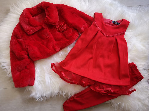 Red faux fur coat and dress set