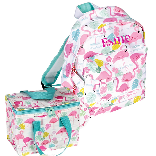 Embroidered personalised mini backpack & lunch bag
