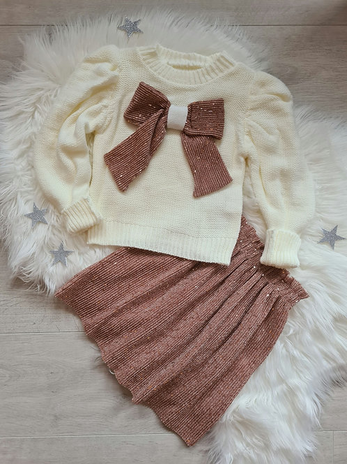 Cream knitted jumper with glitter sequin skirt