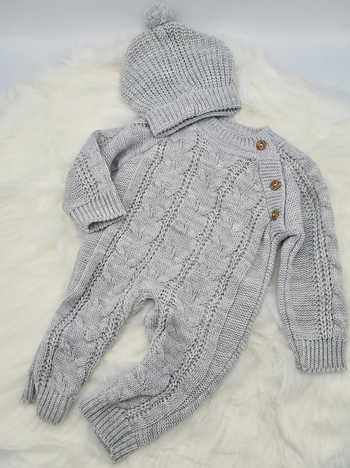 Grey cable knitted romper & hat
