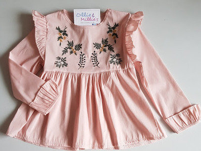 Pink Embroidered Ruffle Shirt Dress