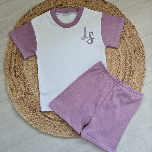 Embroidered mauve initial summer set
