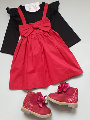 Deep Red Bow Dress