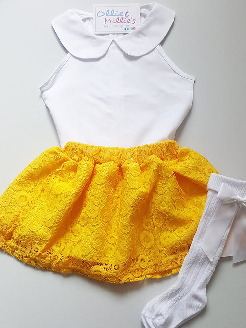 White Shirt & Mustard Lace Skirt