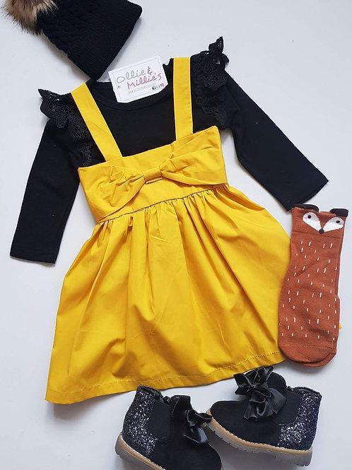 Mustard Bow Dress & Cross Back