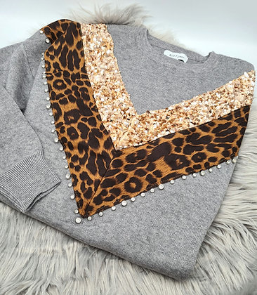 Knitted sequin animal print jumper