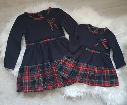 Navy Fleece Lined Tartan Dress (6m to 12yr)
