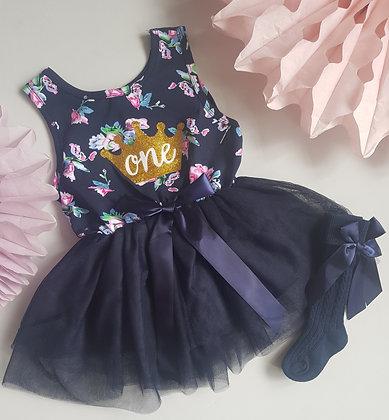 Navy Floral First Birthday Dress