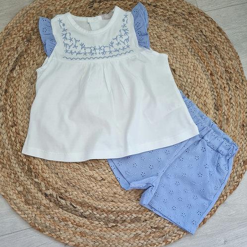 Blue & White embroidered summer set