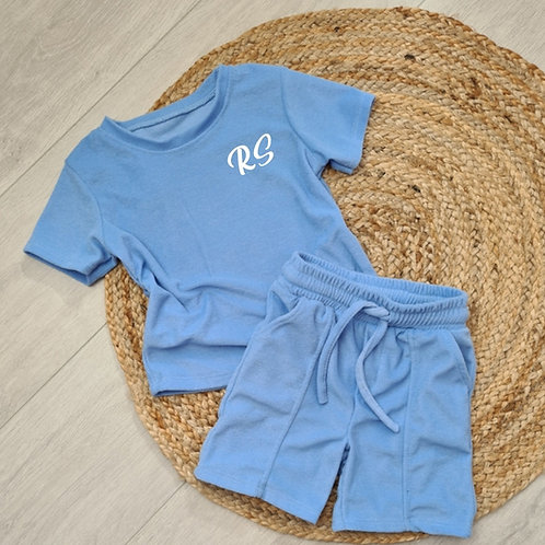 Personalised embroidered Towelling summer sets