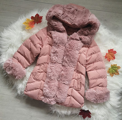 Padded faux fur coat