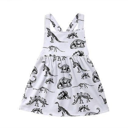 Black&White Dino Print Pinafore dress