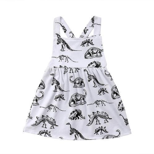 Black&White Dino Print Pinafore dress