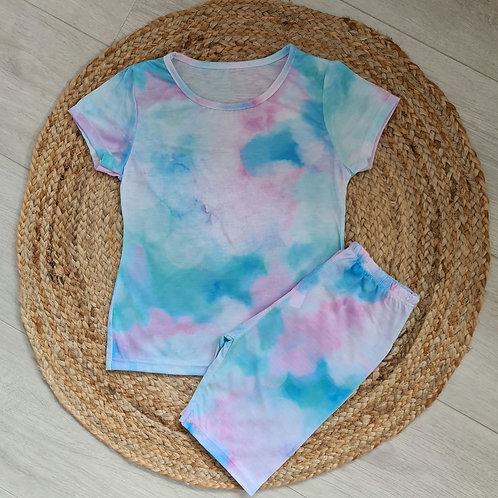 Blue pastel tie dye summer set