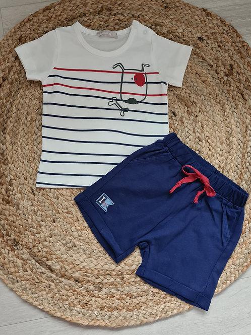 Striped dog 2 piece summer set