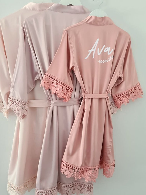 Childrens personalised lace robe