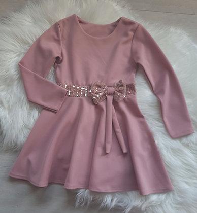 Dusky Pink Glitter Bow Dress