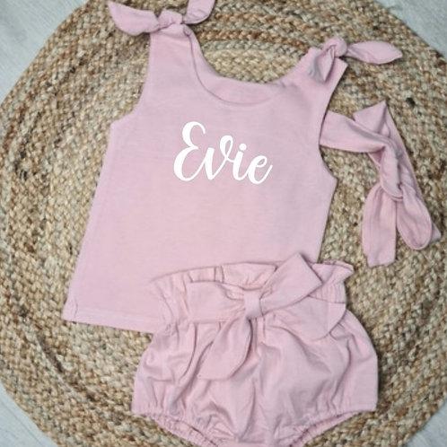 Personalised pink 3 piece summer set