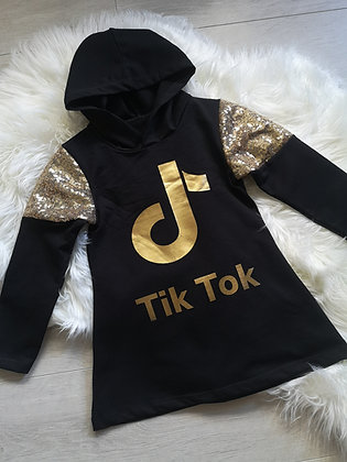 Black and Gold Glitter TikTok jumper dress