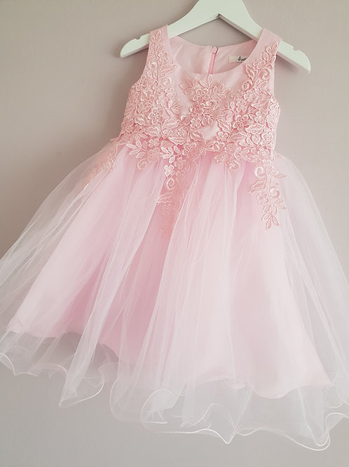 Pink Lace Detail Party Dress