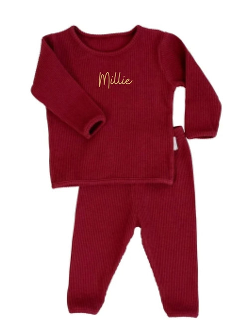 Claret embroidered personalised luxury ribbed lounge wear