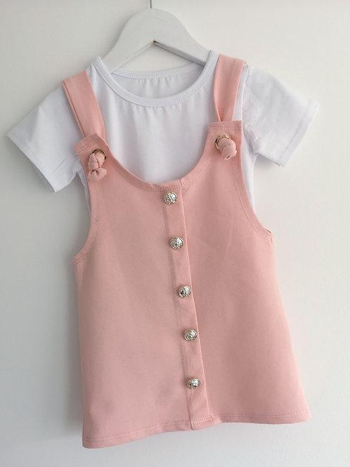 Pink Dungaree Dress and Top