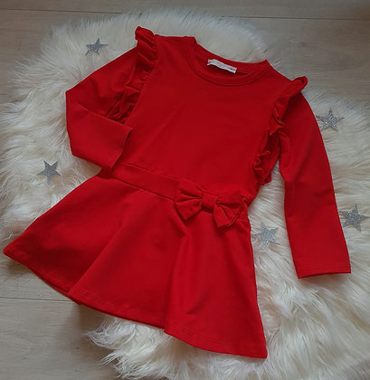 Red Ruffle Bow Dress