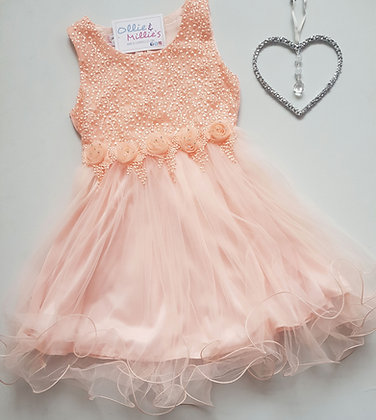 Peach Flower Party Dress