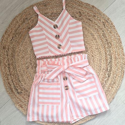 Pink striped crop cami & high waist shorts